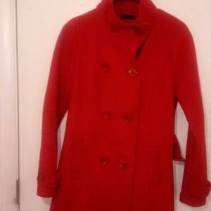 Red wool trench coat